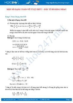 Các bài toán dãy tỷ số bằng nhau có lời giải chi tiết