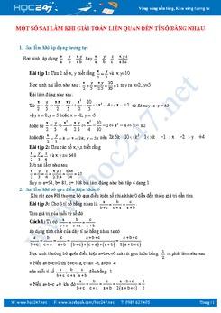 Sai lầm thường gặp khi giải bài tập dãy tỉ số bằng nhau