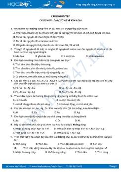 113 Câu trắc nghiệm Hóa 12 Đại cương kim loại có đáp án