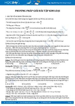 Phương pháp giải bài tập Kim loại có lời giải chi tiết