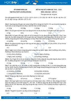 Đề thi học kì 1 Hóa 12 Trường THPT Lê Hồng Phong có đáp án