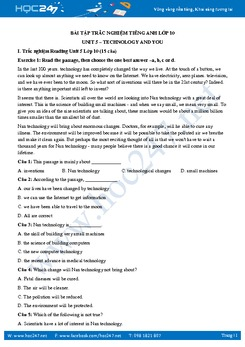 40 câu trắc nghiệm Unit 5 Tiếng Anh lớp 10 có đáp án