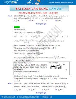 99 câu Trắc nghiệm Mũ và Lôgarit vận dụng cao có lời giải