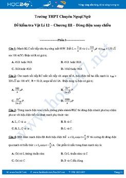 Đề kiểm tra 1 tiết chương Dòng điện xoay chiều Vật lý 12
