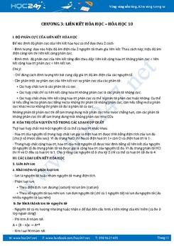 Lí thuyết và trắc nghiệm Hóa 10 Chương 3 Liên kết hóa học có đáp án