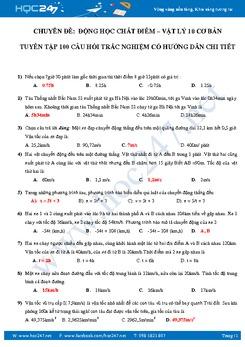 100 câu trắc nghiệm Động học chất điểm Vật lý 10 có lời giải
