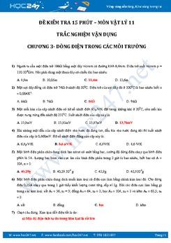 Kiểm tra 15' chương Dòng điện trong các môi trường Vật lý 11
