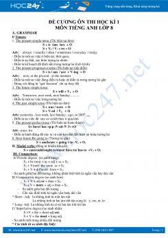 Bài tập bổ trợ kiểm tra 1 tiết tiếng Anh lớp 8 HK1 lần 2