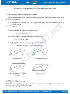 25 câu Trắc nghiệm Vị trí tương đối của hai đường thẳng có lời giải
