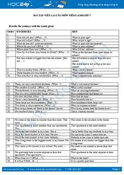 Bài tập viết lại câu tiếng Anh lớp 7 học kì 1 có đáp án