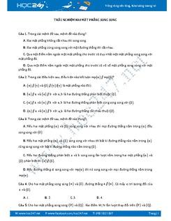 30 câu trắc nghiệm Hai mặt phẳng song song có lời giải