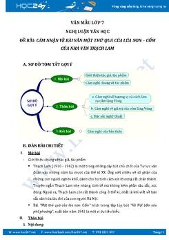 Cảm nghĩ về bài văn Một thứ quà của lúa non: Cốm của nhà văn Thạch Lam