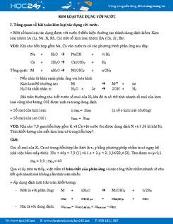 Bài tập Kim loại tác dụng với nước Hóa 12 có lời giải