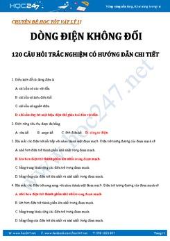 120 câu trắc nghiệm Dòng điện không đổi Vật lý 11 có lời giải