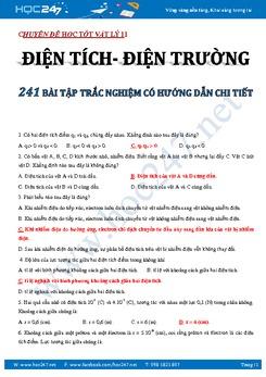 241 bài tập trắc nghiệm Điện tích- Điện trường Vật lý 11 có đáp án