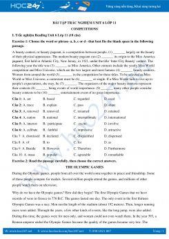 60 câu trắc nghiệm Unit 6 Tiếng Anh 11 có đáp án
