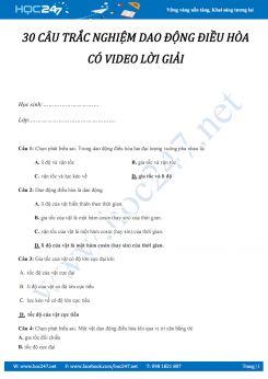 30 câu trắc nghiệm Dao động điều hòa Vật lý 12 có video lời giải