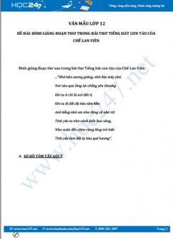 Bình giảng đoạn thơ trong bài thơ Tiếng hát con tàu của Chế Lan Viên