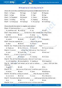 Đề thi giữa HK2 môn tiếng Anh lớp 10 năm 2018 có đáp án