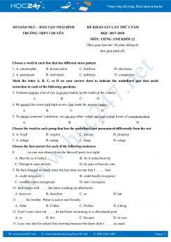 Đề thi thử THPT QG Tiếng Anh THPT Chuyên Thái Bình