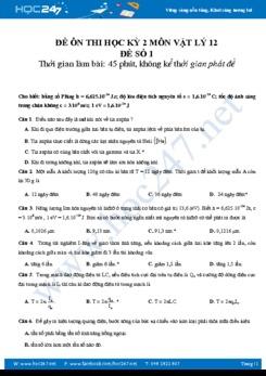 Đề thi học kì 2 môn Vật lý 12 năm 2018- Đề ôn luyện số 1