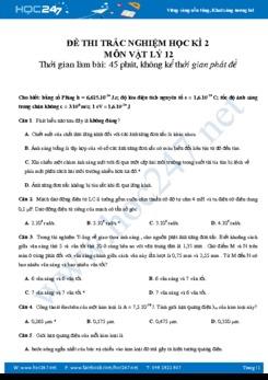 Đề thi trắc nghiệm Học kì 2 môn Vật Lý 12 có đáp án