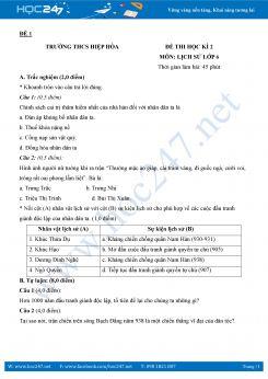 2 đề thi HK2 môn Lịch sử lớp 6 năm 2018 có đáp án