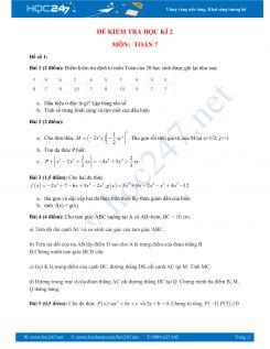 5 Đề thi học kì 2 môn Toán 7 có đáp án