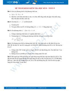 Đề thi tham khảo học kì 2 Toán 9 có lời giải chi tiết