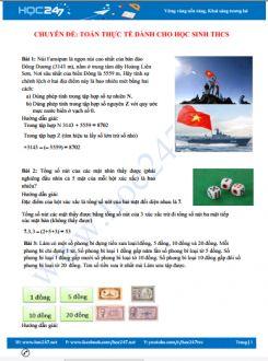 20 bài toán thực tế môn Toán THCS