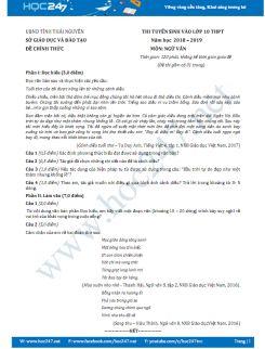 Đề thi vào 10 môn Ngữ văn năm học 2018 Sở GD&ĐT Thái Nguyên
