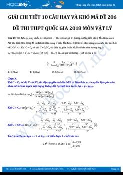 Giải chi tiết 10 câu khó trong đề thi Vật Lý THPTQG 2018 mã đề 206