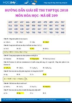 Hướng dẫn giải chi tiết đề thi THPT Quốc Gia 2018 môn Hóa mã đề 209