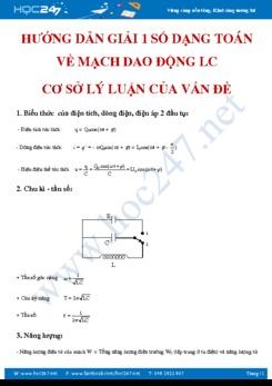 Hướng dẫn giải 1 số dạng toán về mạch dao động LC