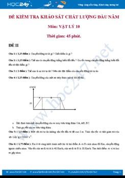 Đề kiểm tra khảo sát chất lượng đầu năm Vật lý 10 có đáp án- Đề số 2