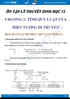 Lý thuyết Sinh học 12: Tính quy luật của hiện tượng di truyền