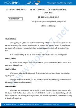 Đề thi chọn HSG môn Sinh học 12 năm 2017-2018 tỉnh Vĩnh Phúc