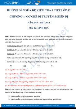 Đề kiểm tra trắc nghiệm chương 1 môn Sinh học 12 có đáp án chi tiết