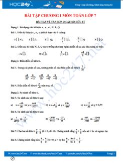 Tổng hợp bài tập chương 1 môn Toán lớp 7