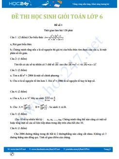 5 đề thi học sinh giỏi môn Toán lớp 6