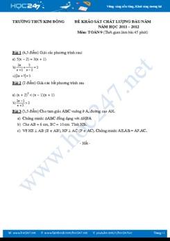 Đề KSCL đầu năm Toán 9 THCS Kim Đồng năm 2011-2012 có đáp án