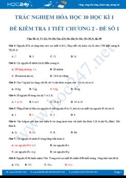 Đề kiểm tra 45 phút chương 2 môn Hóa học 10- Đề số 1