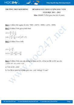 Đề KSCL đầu năm Toán 7 THCS Kim Đồng năm 2011-2012 có đáp án