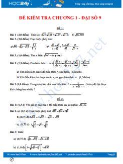 10 đề kiểm tra 1 tiết chương 1 Đại số 9
