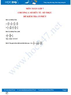Kiểm tra 15 phút Toán 7 - Chương 1 Số hữu tỉ, số thực có đáp án