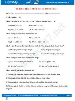 Đề kiểm tra 1 tiết chương 1 Đại số 10