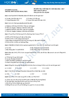 Đề kiểm tra 1 tiết HK1 môn Lịch Sử lớp 12 - THPT Nguyễn Trung Trực An Giang