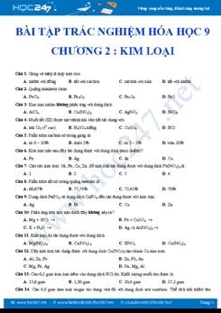 Bài tập trắc nghiệm Hóa học 9- Chương 2- Kim Loại