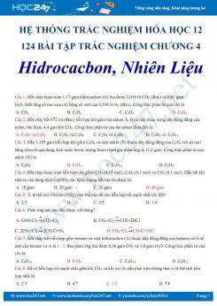 124 bài tập trắc nghiệm Chương 4 Hidrocacbon- Nhiên liệu Hóa 12 có đáp án