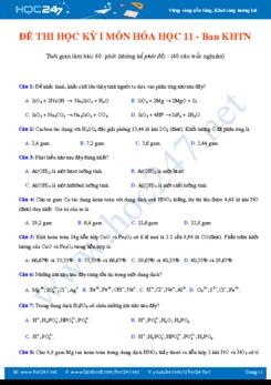 Đề thi trắc nghiệm học kỳ I môn Hóa học 11 - Ban KHTN